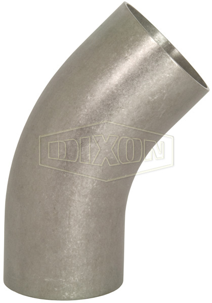 Unpolished 45° Long Weld Elbow with Tangent