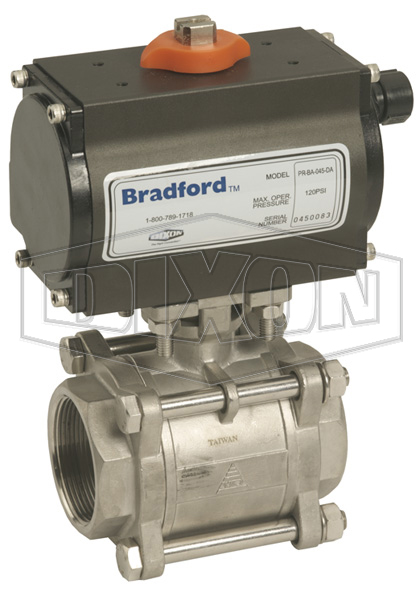 Pneumatically Actuated 3-Piece Stainless Ball Valve