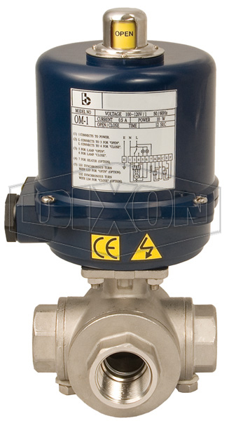 Electrically Actuated 3-Way Stainless Ball Valve