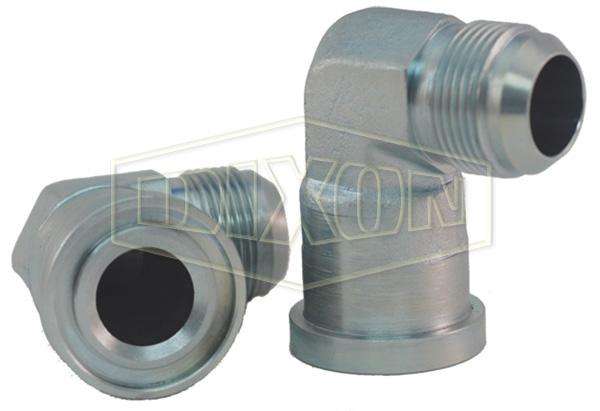 90° Flange Elbow x Male JIC Hydraulic Adapter