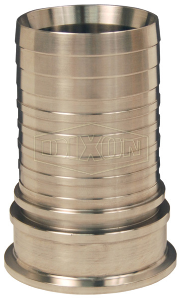 Dixon Sanitary Style Crimp Stem Clamp End x Hose Shank