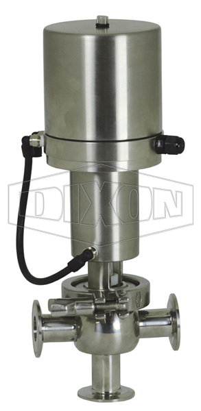 SV-Series Single Seat Hygienic Valve T Body Pneumatic Actuator Spring Return Air to Raise, Basic Control Top