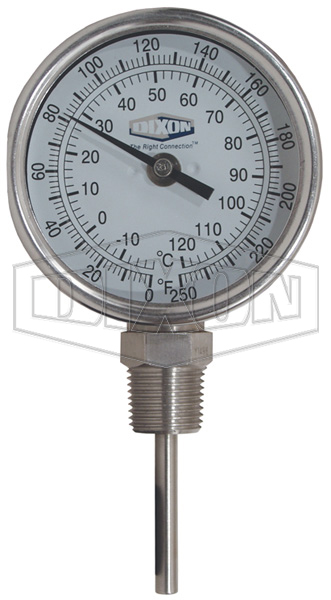 "Bi-Metal Bottom Connected 90° Angle 3"" Face Thermometer"