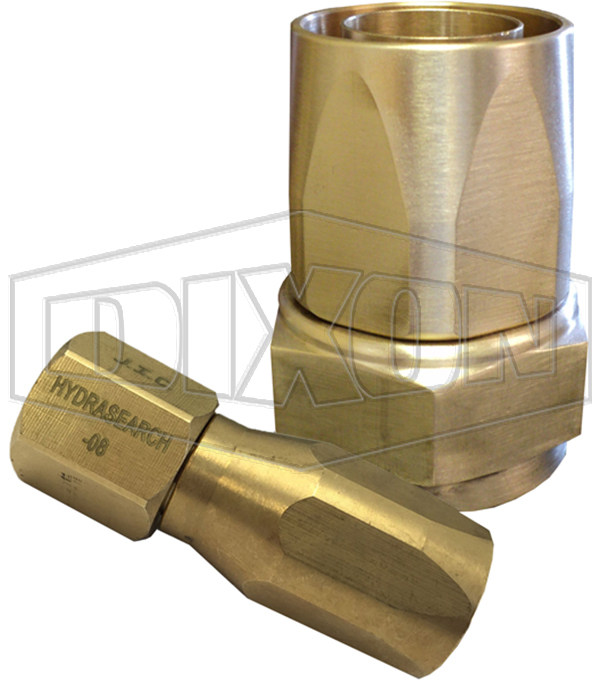 Hydrasearch reusable 3 piece 37° fitting - Brass