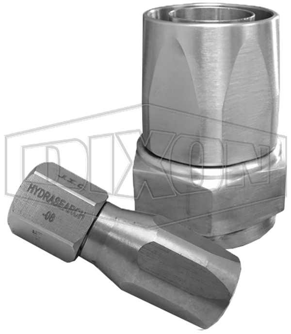 Hydrasearch reusable 3 piece 37° fitting - Stainless Steel