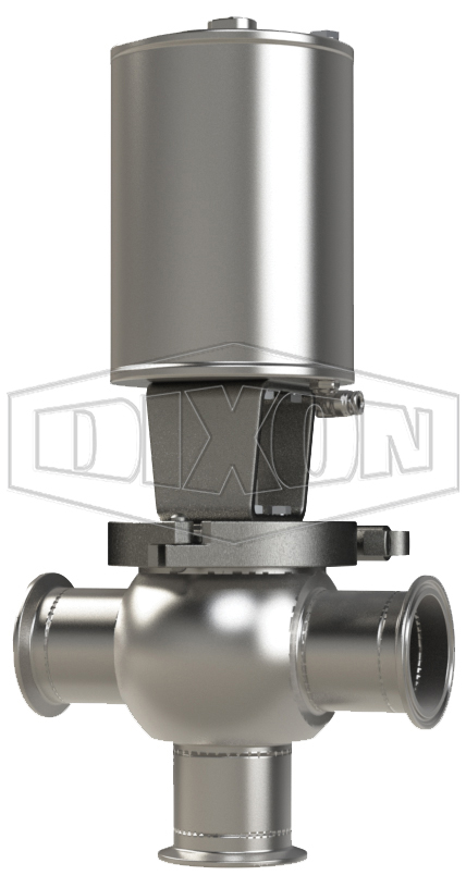 SSV Series Single Seat Valve, Shut-Off T Body, Clamp, Spring Return Actuator (Air-To-Lower)