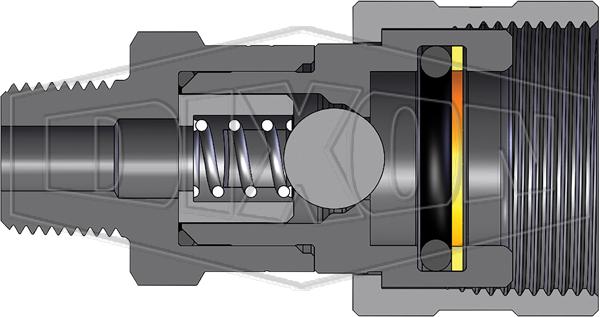 Coupler 1//4 Coupling x 1//4-18 NPTF Male Thread 1//4 Coupling x 1//4-18 NPTF Male Thread Dixon Valve /& Coupling Dixon Valve 2TM2 Steel High Pressure Ball Interchange Fitting